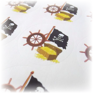 pirate themed stickers with pirate flag & gold treasure chest