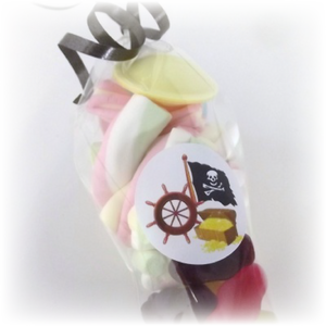 pirate themed sweet cones with pirate sticker and space invader sweets inside