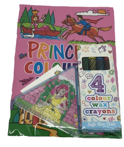 Princess Themed Party Colouring book, colouring crayons & princess puzzle