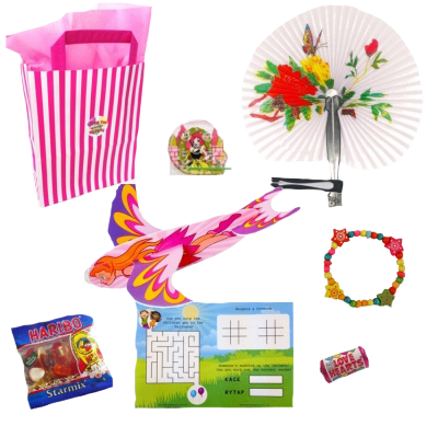 Pink Stripe Princess Party Bag with goodies & prizes inside like a glider, sweets, word search & bracelet