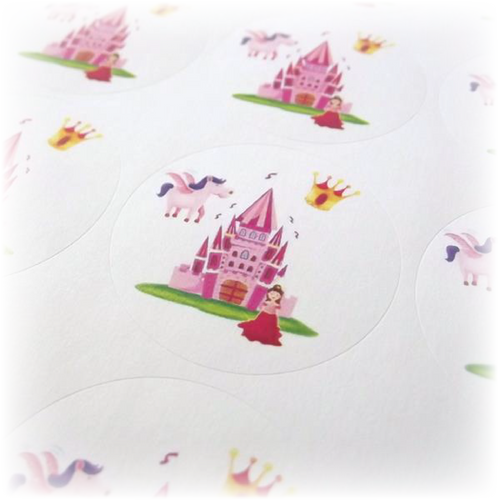 Princess Themed Stickers with pink castle