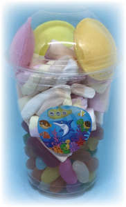 Sea Life themed party sweet tub with flying saucers, jelly beans, flumps and jelly babies