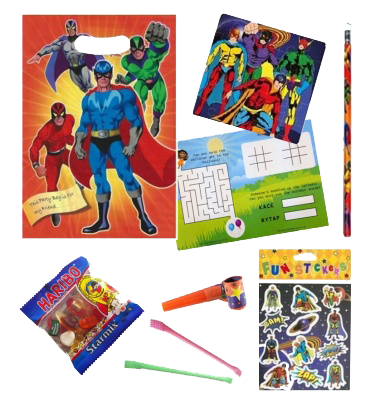 Superhero themed party gift bag with superhero jigsaw and stickers