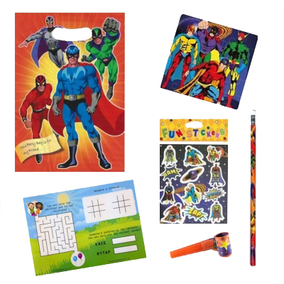 Superhero Themed Party Gift Bag with superhero themed stickers, jigsaw, pencil & a word search puzzle
