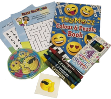 Load image into Gallery viewer, Toymoji emoji activity puzzle & colouring book with colouring crayons, emoji puzzle game & word search puzzles