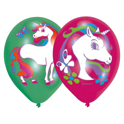 unicorn themed party balloons in pink and green with unicorn design