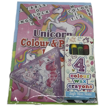Load image into Gallery viewer, unicorn puzzle & colour book with colouring crayons & unicorn themed game