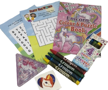 Load image into Gallery viewer, Unicorn activity colour & puzzle book, colouring crayons, unicorn puzzle and worsearch