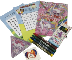 Unicorn activity colour & puzzle book, colouring crayons, unicorn puzzle and worsearch