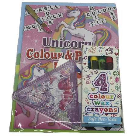 unicorn puzzle & colour book with colouring crayons & unicorn themed game