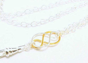 Real Silver and Gold Plate Lanyard with Two Tone Celtic Knot Pendant