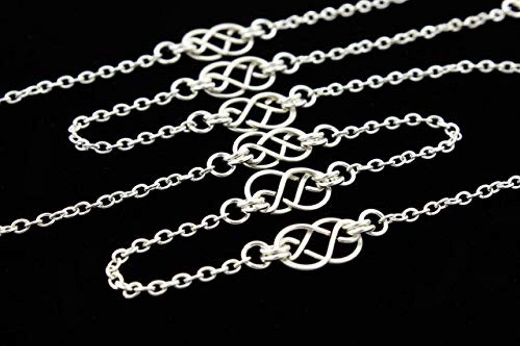 Long Necklace, 32 Inch Chain with Handcrafted Silver or Two Tone Celtic Knots