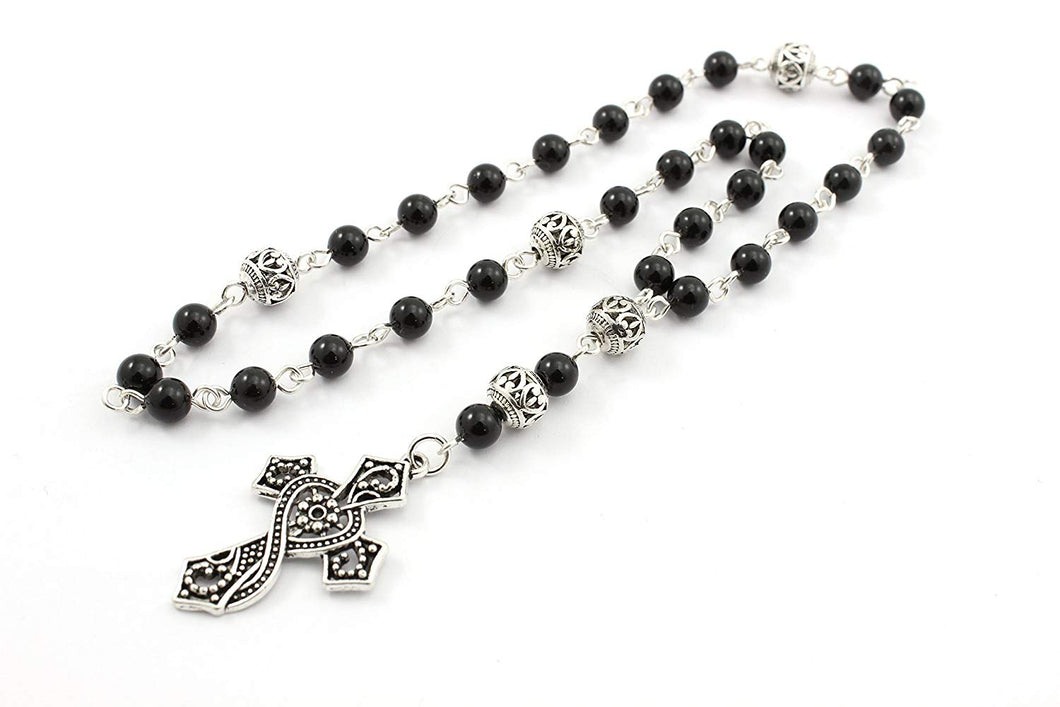 Anglican Rosary / Prayer Beads, Swarovski Pearls with Ornate Cross