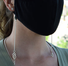 Mask Necklace w/ Handcrafted Celtic Knot, 3 mm Curb Chain