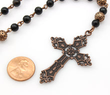 Anglican Prayer Beads with Blue Tiger Eye Gemstones and Antique Copper Cross