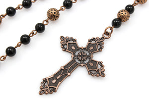 Anglican Prayer Beads with Onyx Gemstones and Antique Copper Cross