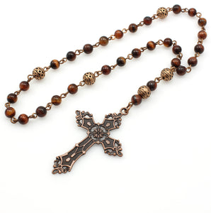 Anglican Prayer Beads with Red Tiger Eye Gemstones and Antique Copper Cross
