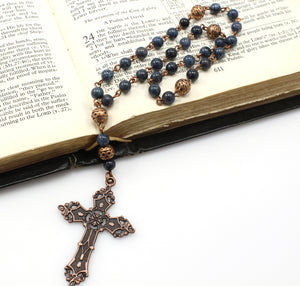 Anglican Prayer Beads with Dumortierite Gemstones and Antique Copper Cross