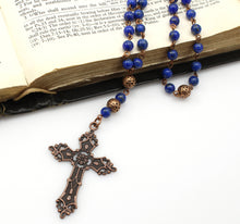 Anglican Prayer Beads with Lapis Lazuli Gemstones and Antique Copper Cross