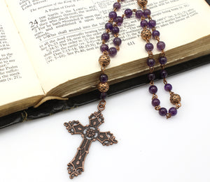 Anglican Prayer Beads with Amethyst Gemstones and Antique Copper Cross