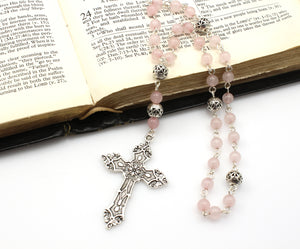 Anglican Prayer Beads with Rose Quartz Gemstones and Silver Plated Cross