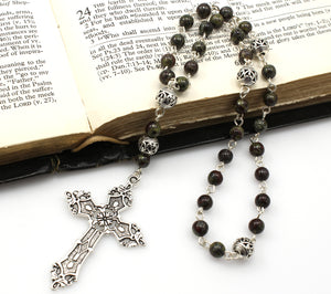 Anglican Prayer Beads with Dragon Blood Jasper Gemstones and Silver Plated Cross