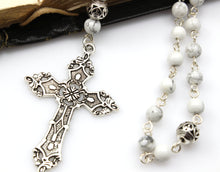 *New* Anglican Prayer Beads with White Howlite Gemstones and Silver Plated Cross