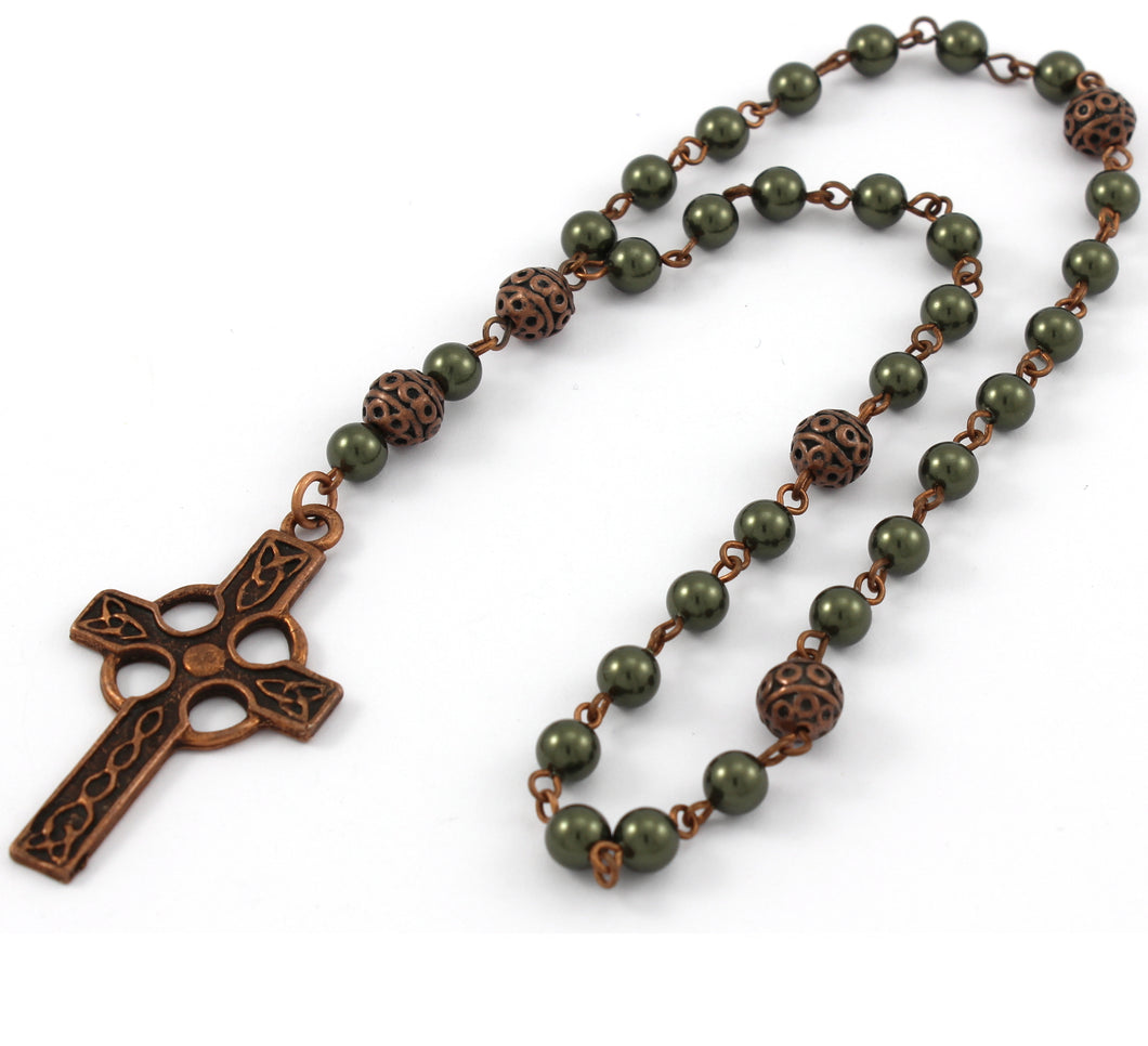 Anglican Prayer Beads / Anglican Rosary with Swarovski or Czech Pearls and Celtic Cross in Antique Copper