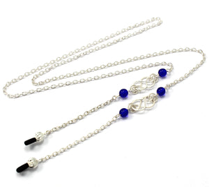 *New* Womens Fashion Eye Glasses Necklace Chain with Handcrafted Silver Celtic Knots and Glass Beads, 11 Colors