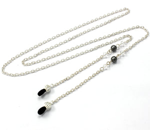 Women's Fashion Eye Glasses Chain Necklace with Clear Swarovski Crystals and Pearls, Fits Most Eyeglasses, Simple Lightweight Chain