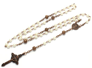 Catholic Rosary Beads, Antique Copper Rosary Necklace, 7 Pearl Colors, Will Never Tarnish or Change Color