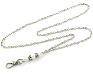 Pearl Pendant Lanyard with Textured Silver Plated Chain