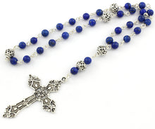 Anglican Prayer Beads with Blue Lapis Lazuli Gemstones and Silver Plated Cross