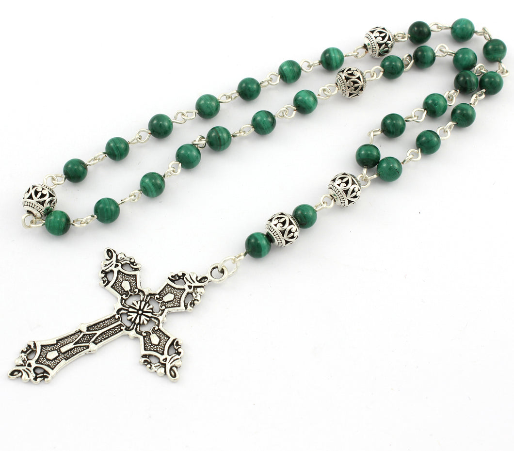 Anglican Prayer Beads with Green Malachite Gemstones and Silver Plated Cross