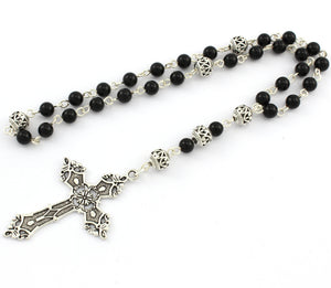 Anglican Prayer Beads with Onyx Gemstones and Silver Plated Cross