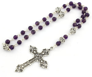 Anglican Prayer Beads with Amethyst Gemstones and Silver Plated Cross