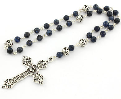 Anglican Prayer Beads with Domortierite Gemstones and Silver Plated Cross