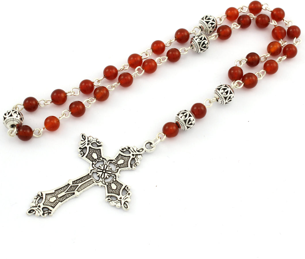Anglican Prayer Beads with Red Carnelian Gemstones and Silver Plated Cross