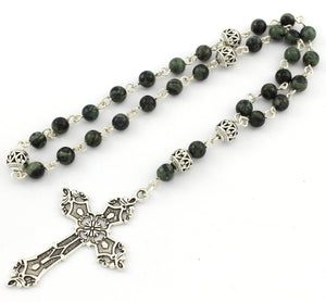 Anglican Prayer Beads with Kambaba Jasper Gemstones and Silver Plated Cross