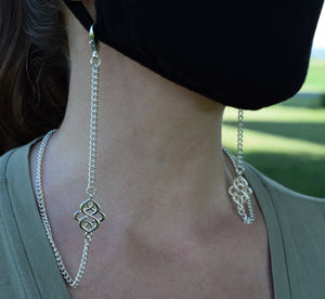 Mask Necklace w/ Fancy Celtic, 4 mm Curb Chain