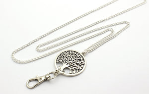 Women's Lanyard ID Badge Holder with Beautiful Silver Tree of Life