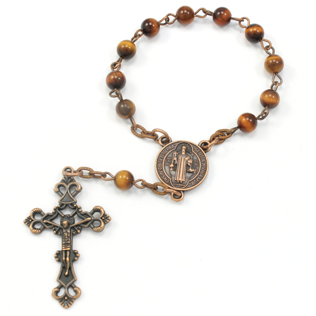 One Decade Catholic Rosary, Auto Rosary, Epoxy Coated Copper, Red Tiger Eye Gemstones
