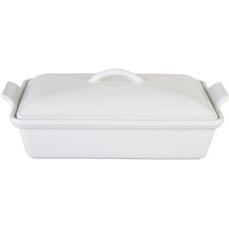 "Le Creuset Stoneware Heritage Covered Rectangular Casserole, 4 qt. (12"" x 9""), White"