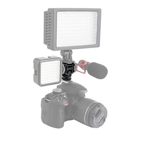 AFVO Metal Triple Hot Shoe Camera Shoe Bracket for Flash Lights, Microphones, Audio Recorder