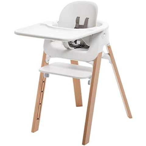 Stokke Steps Bundle, Baby Set, Seat, Tray - White, Legs - Natural