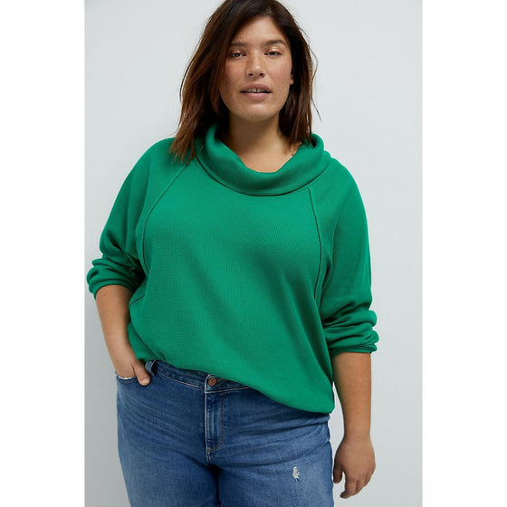 Pilcro Angie Mock Neck Waffle Top