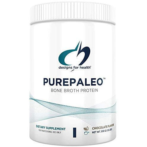 Designs for Health PurePaleo Collagen Protein Powder - Paleo Protein Powder - 21g HydroBEEF Protein with Collagen Peptides + BCAAs - Chocolate - Non GMO and Gluten Free (30 Servings / 810g)