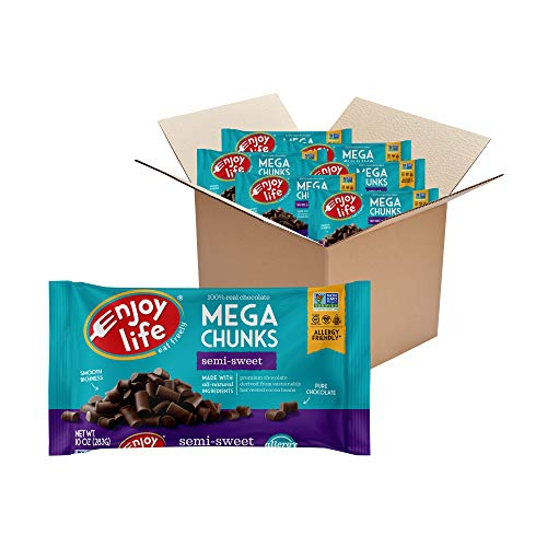 Enjoy Life Semi-Sweet, Dairy Free Vegan Mega Chunk Chocolate Chips, 10 Ounce (Pack of 6)
