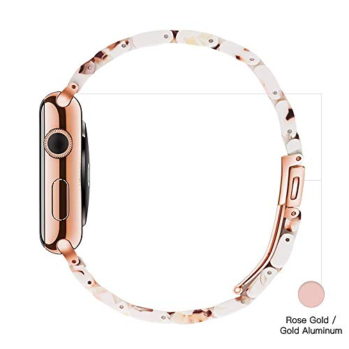 Light Apple Watch Band - Fashion Resin iWatch Band Bracelet Compatible with Copper Stainless Steel Buckle for Apple Watch Series 5 Series 4 Series 3 Series 2 Series1 (Nougat White, 38mm/40mm)