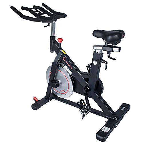 Sunny Health & Fitness Magnetic Belt Drive Indoor Cycling Bike with 44 lb Flywheel and Large Device Holder